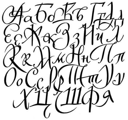 Exemplu de scriere chirilică, tip de literă rusesc, redesenate, prezentate în carte.