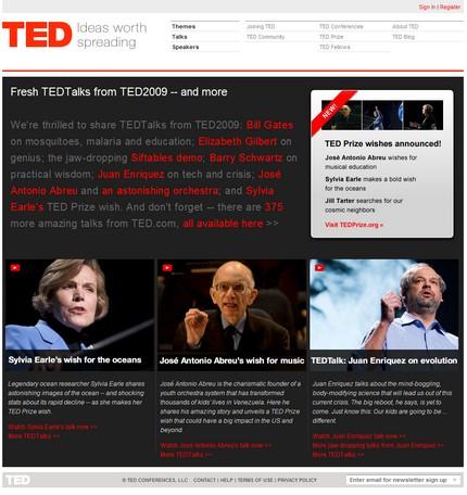 TED - homepage-ul (link-ul mai jos)