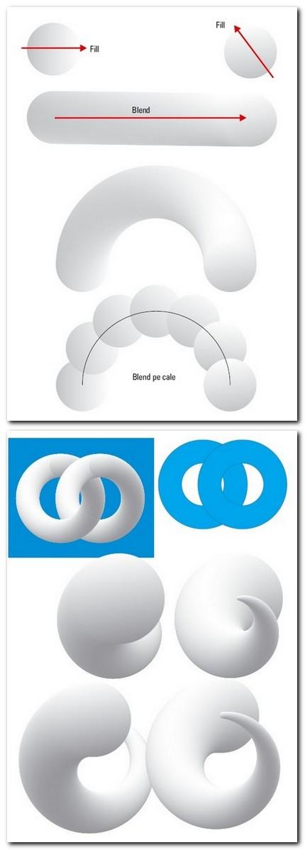 Mini-tutorial. Cercuri umplute cu Fountain Fill şi Blend între ele, pe o cale.
