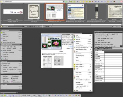 Pe cele 4 laturi ale ecranului apar (la ieşirea mouse-ului din ecran) palete cu unelte, iar meniul contextual conţine şi el alte opţiuni. Toate acestea nu împiedică vizualizare imaginilor şi sunt accesibile la nevoie.