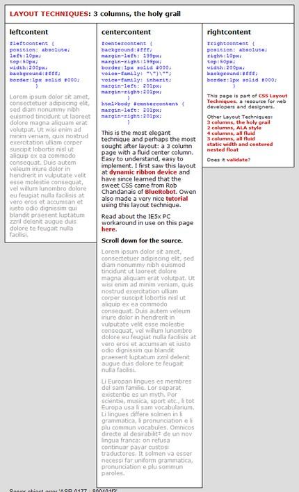 Exemplu de layout cu 3 coloane. Glish - multe lucruri utile despre CSS.