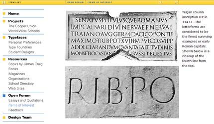 Din paginile despre istoric - Litere romane de pe columna lui Traian.
