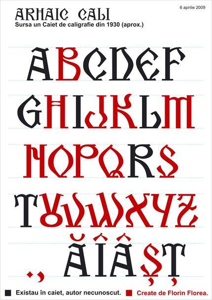 Arhaic Românesc - Cali (Autor anonim. Litere în completare create de Florin Florea.)