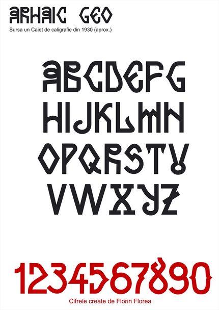 Arhaic românesc - Geo (Autor anonim, aprox 1930. Trasat şi redesenat de Florin Florea. Cifrele create de Florin Florea.)