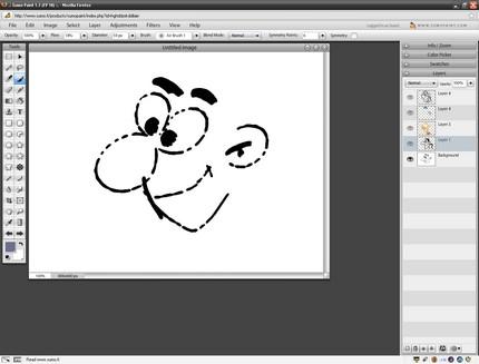 Sumo Paint - interfaţa (mărită full screen arată ca orice program de pe computer)