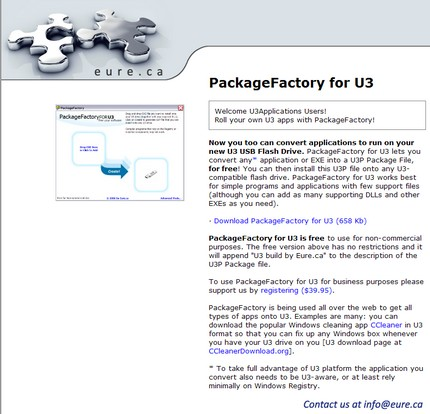 Package Factory, program pentru creat / modificat aplicaţii compatibile U3.