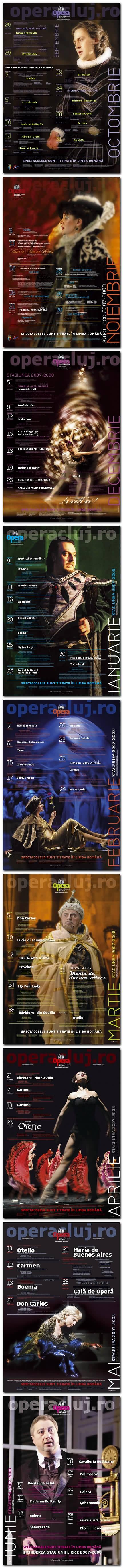 Afişe pentru stagiunea 2007-2008. Listări color 100 x 70 cm. Design: Florin Florea.