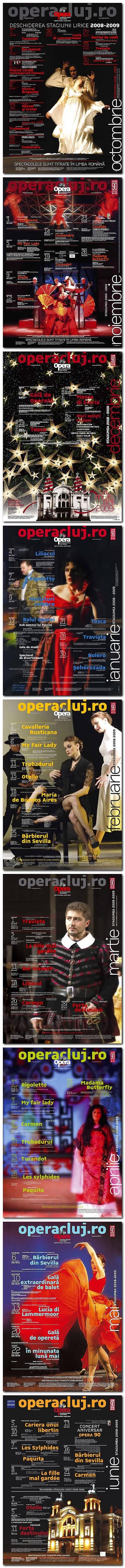 Afişe pentru stagiunea curentă, 2008-2009. Listări color, 100 x 70 cm. Design: Florin Florea.