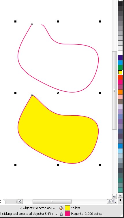 Curba deschisă pierde culoarea. Jos în bara de informaţii se pot vedea culorile obiectelor.