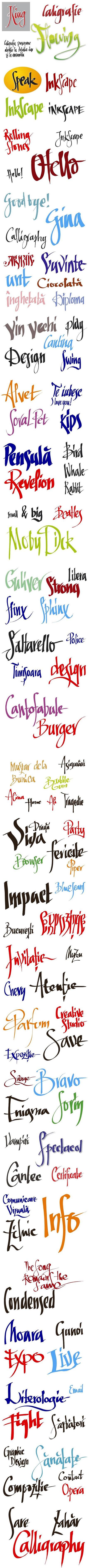 Exercitii de caligrafie vectoriala, in Inkscape, create de Florin Florea.