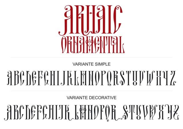 Planşa de prezentare a primului font. Probabil acestea vor fi literele majuscule şi minuscule din cadrul fontului.