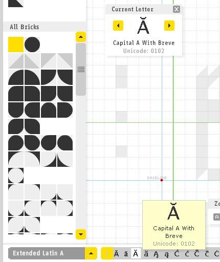 Se poate alege alt set de caractere / glife şi se pot crea şi litere româneşti.