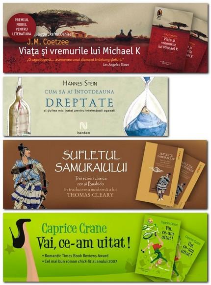 Câteva bannere reclame pentru cărţi cu coperţi folosind ilustraţii (desen). Exemple de pe net