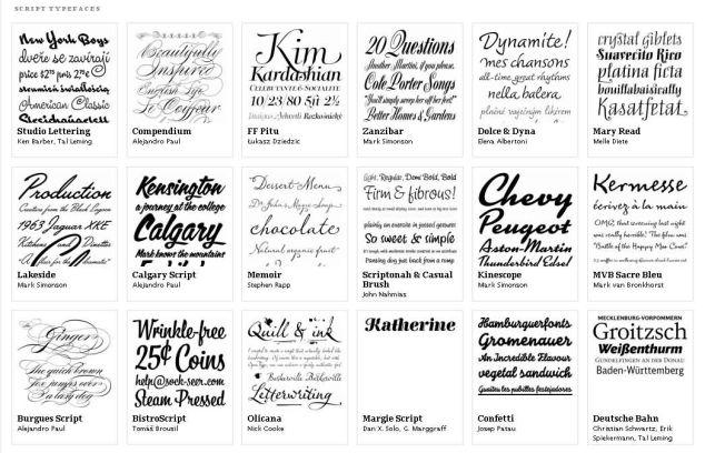 Tipuri de literă script. Exemplu de pe typographica.org