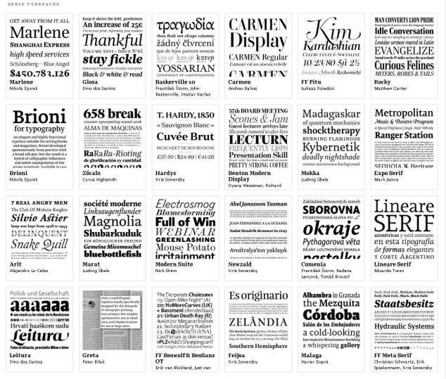 Tipuri de literă cu serife. Exemplu de pe typographica.org