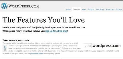 Captura de ecran a paginii cu posibilităţile de a posta un blog pe WordPress