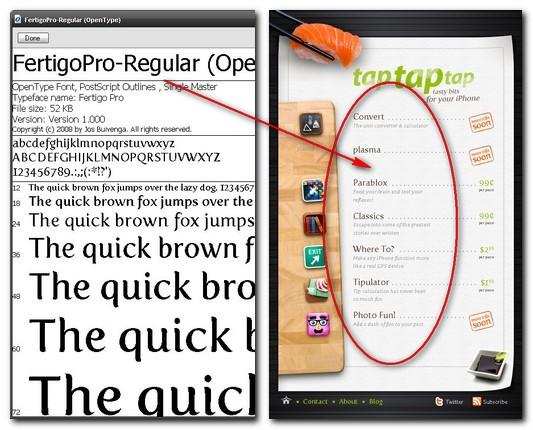 Un exemplu de font şi detaliu din pagina online.