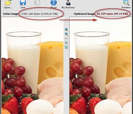 Comparaţie imagine iniţială (3 Mb) şi optimizată (50 kb) la 1200 x 900 px. cu pierderi neglijabile