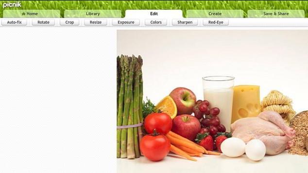 Aplicaţia online Picnick şi imaginea urcată pentru editare