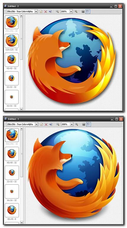 Logo firefox vechi si nou (captura de ecran din IcoFX)