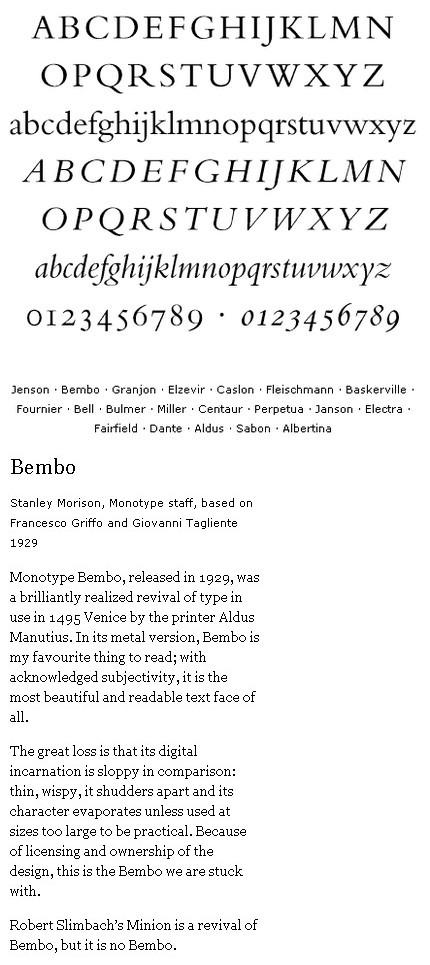 Despre Bembo. Sursa: Textism.com
