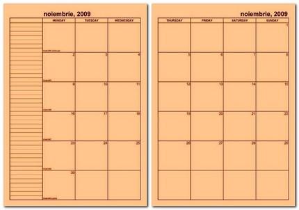 Exemplu de pagina dublă, planner lunar.