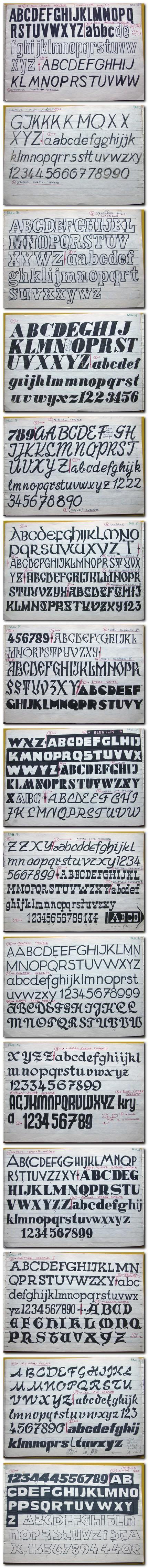 Pagini din vechiul caietul de desen, schiţe de litere