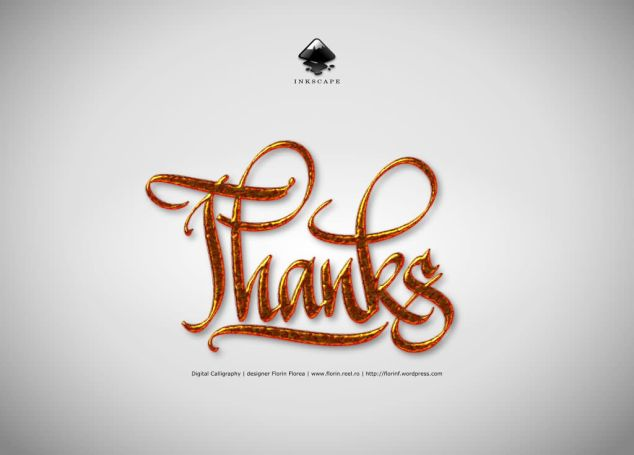 Thanks - caligrafie digitala (digital calligraphy) in Inkscape - Florin Florea