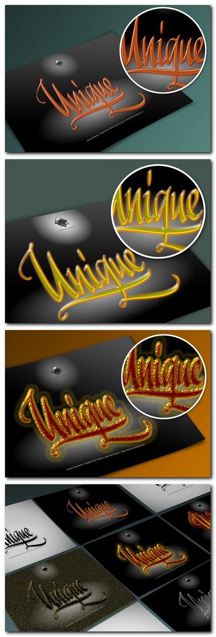 Unic, unicat sau unique - caligrafie de Florin Florea (serie persp.)
