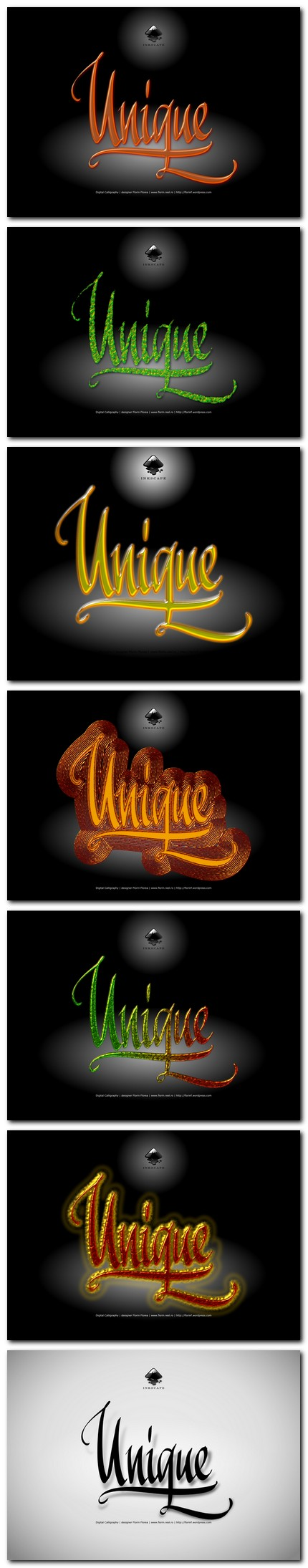 Unic, unicat sau unique - caligrafie de Florin Florea (serie)