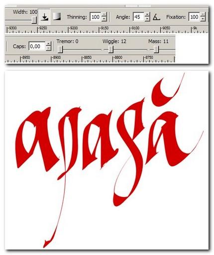 """Setări peniţa caligrafică """"Apasă"""", cu exemplificare grafică"""
