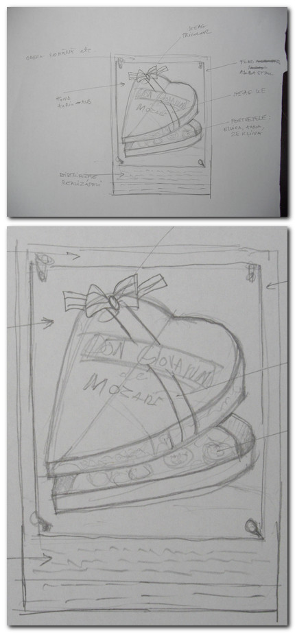 Schite start ansamblu si detaliu (create de scenografa spectacolului)