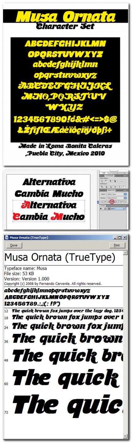 """Musa Ornata - font gratuit de pe """"El Serif de Chocolate"""""""