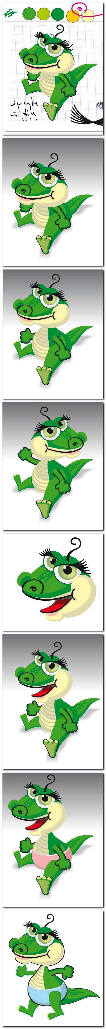 Florin Florea - pui de crocodil, desen vectorial. Copyright Florin Florea 2011.