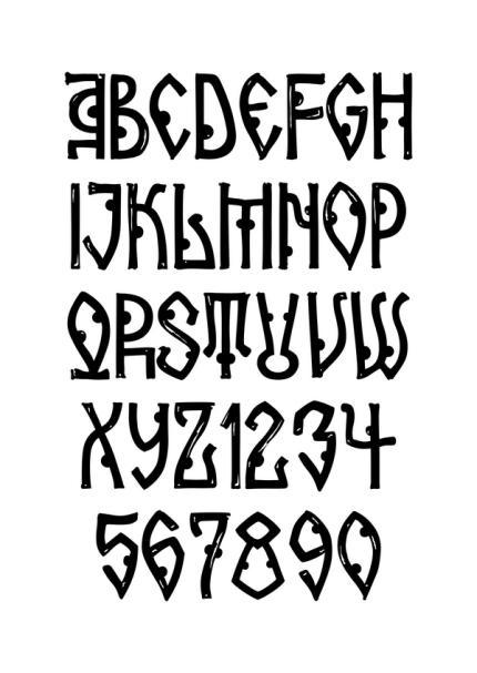 Alfabetul din fontul Arhaic Arnota