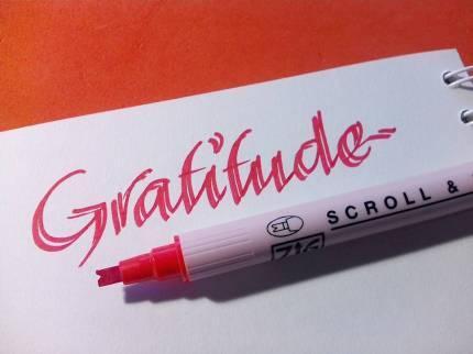 Gratitude - marker ZIG scroll și brush