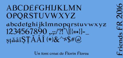 O parte din caracterele incluse în fontul Friends FR 2016